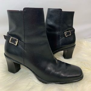Cole Haan black leather heeled ankle boots
